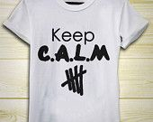 5SOS 5second Of Summer Keep C.A.L.M calum hood,Luke Hemmings,Ashton Irwin,Michael Clifford T-shirt Black and White For Men's And Women