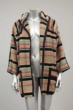 A Bill Gibb striped woollen hooded jacket, Autumn-Winter, 1974-5 (Image courtesy of Kerry Taylor auctions)
