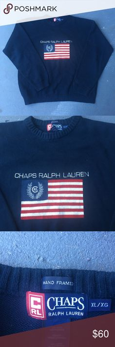 Navy blue vintage vtg Ralph Lauren sweater Navy blue vintage vtg 90s Ralph Lauren American flag crewneck sweater  Has the American flag on the front with chaps Ralph Lauren around the flag Supreme condition  No stains no damages no holes  Fits perfect to size Ralph Lauren Sweaters Crewneck
