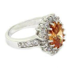 Classic Royal Engagement Ring, Champagne CZ, pavé White Size 9 (Jewelry)  http://www.1-in-30.com/crt.php?p=B0042PB9NQ  B0042PB9NQ