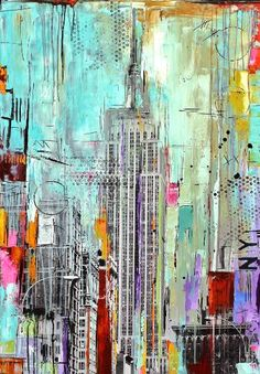 new york is colorful painting by Jolina Anthony