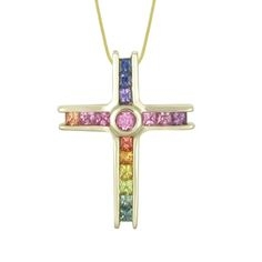 Cross Pendant, Sapphire, Symbols, Rainbow, Jewels, Crosses, Rain Bow, Rainbows, Jewerly