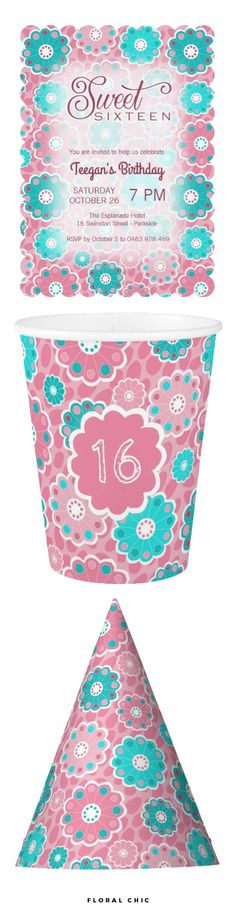 Floral Chic Collection - This modern, contemporary flower design is suitable to a broad age spectrum. Team these sweet sixteen birthday items with other party supplies from my floral chic range. #zazzle #sweetsixteen #teenageparty @zazzle