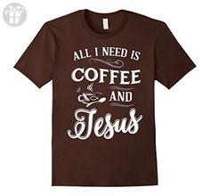 Mens Funny All I Need Is Coffee And Jesus Birthday Gift T-Shirt Medium Brown - Birthday shirts (*Amazon Partner-Link)