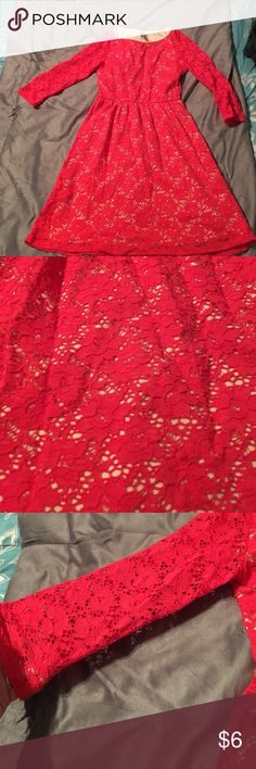 Little Red Dress Fun little dress! I really like it but I don't have any room in my closet. Stretchy material and very comfortable. It's a reddish pink. There is no size listed but it fits like a small. Boutique brand. B Darlin Dresses Mini