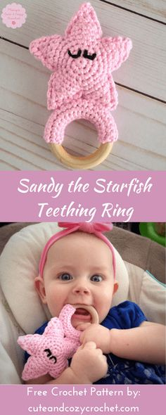 Crochet this adorable amigurumi starfish teething ring for a sweet baby. Get the free crochet pattern and tutorial for Sandy the Starfish Teething Ring on my blog!