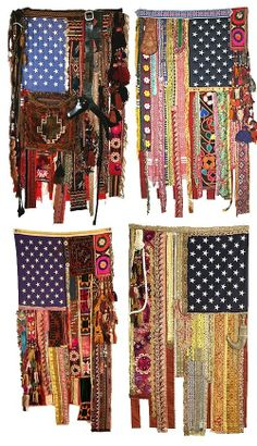 amazing the creative spirit!Create your own flagl.these are Americana with a creative twist. Hippie Party, Fabric Art, Fabric Crafts, Scrap Fabric, Inchies, Craft Projects, Sewing Projects, Photo Projects, Prayer Flags