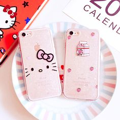New Glitter Phone Cases for iPhone 7 7 Plus 6 6s 6Plus 6sPlus Cute Hello Kitty Strawberry Soft TPU Back Case Cover