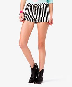 Vertical Stripe Denim Shorts | FOREVER21 #ColoredDenim #BlackAndWhite #Summer