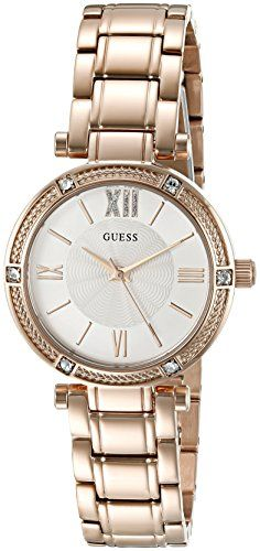 GUESS Womens U0767L3 Dressy Rose GoldTone Watch with White Dial  CrystalAccented Bezel and Stainless Steel Pilot Buckle ** Check out this great product.Note:It is affiliate link to Amazon.