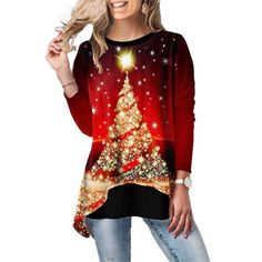 Women Christmas Long-Sleeved Christmas Tree Elk Truck Print Casual Contrast Color Stitching T-Shirt Top