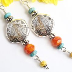 Sun Earrings, Silver Resin with Turquoise, Orange Yellow Czech Glass by Pretty Gonzo on ArtFire