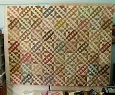 Scrappy Jacob's Ladder quilt.  Make with brights, 2.5 inch strips/12 in. blocks