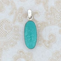 Turquoise Oval Shaped Pendant 925 Sterling Silver Small Beautiful Blue New | eBay