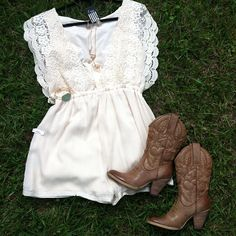 ❤ White Lace Dress & Cowgirl Boots