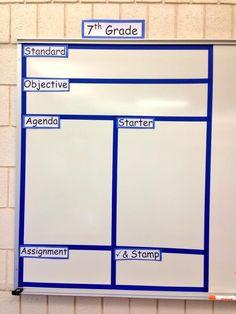 Divided Whiteboard for organization. Classroom Whiteboard Organization, Classroom Board, Ela Classroom, Middle School Classroom, Middle School Science, Science Classroom, White Board Organization, Classroom Decor, History Classroom