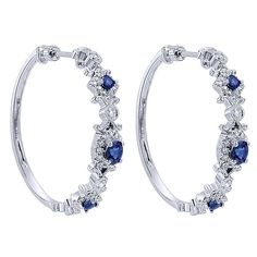 14k White Gold Hoops Style  Classic Hoop Earrings With  Diamond  With  And Sapphire.