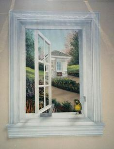 Little Birdie in the Window- want this mural for RV bathroom