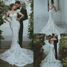 Gorgeous Lace Appliques Mermaid Wedding Dress White/Ivory Sweetheart Bridal Gown Price : Ends White Wedding Dresses, Bridal Dresses, Backless Wedding, Sweetheart Bridal, Pre Wedding Photoshoot, Lace Applique, Mermaid Wedding, Appliques, White Dress