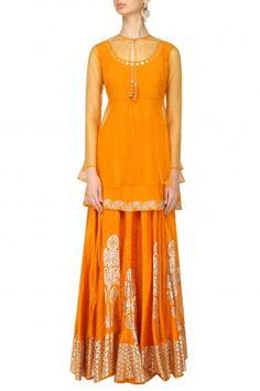 Baavli  Orange Peplum Top, Overlay and Silver Foil Work Skirt Set  #happyshopping #shopnow #ppus
