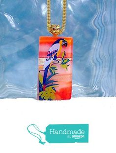 Fused Glass Pendant Necklace Jungle Parrot Gold Plate Bail - Ready to Ship A2601 from Lolas Glass Pendants http://www.amazon.com/dp/B015EO1L8Q/ref=hnd_sw_r_pi_dp_nPhswb124W9ZP #handmadeatamazon