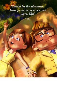 """Thanks for the adventure - Now go and have a new one! Love, Ellie"" Do you need reasons to watch Up this weekend? Visit our blog and find out what you and your kids will learn from this lovely film."