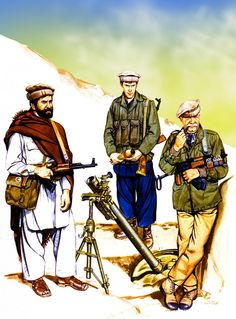 Col. Ramatullah Safi and Dr Khalid Akram with an NIFA Afghan mujahideen during the Soviet invasion of Afghanistan