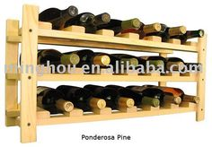 Classique créative 18 bouteille empilable casier à vin en bois ...