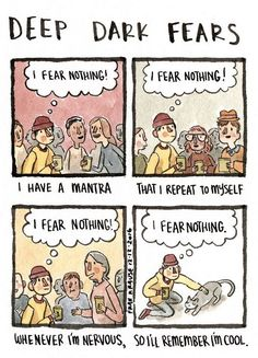 We all have strange and irrational fears, but few of us make a living off them like Fran Krause. Short Funny Comics, Mantra, Fran Krause, Fear Book, Deep Dark Fears, The Awkward Yeti, Dark Comics, Creepy Stories, Nothing To Fear