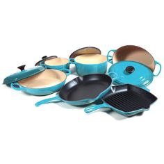 $1230.00 | Le Creuset Signature 10 Piece Caribbean Enameled Cast Iron Cookware Set | (CLICK IMAGE TWICE FOR UPDATED PRICING AND INFO) See More Enamel Cast Iron Cookware Sets at www.momsbestkitchen.com/product-category/cast-iron-cookware-sets/