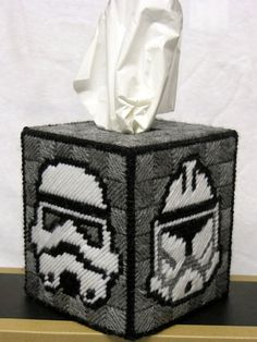Handmade Star Wars Storm Trooper Tissue Box Cover    From a 100% original design, this one of a kind tissue topper holds a standard boutique tissue