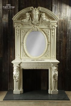 Impressive Napoleon III Carved Chimneypiece Fireplace Surrounds, Fireplace Mantels, Reclaimed Fireplaces, Indoor Fireplaces, Mantle, Reclamation Yard, Fire Basket, Reclaimed Doors, Napoleon Iii