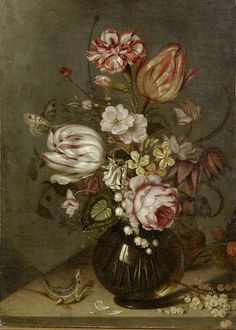 Ambrosius Bosschaert the Younger (Middelburg 1609-1645 Utrecht), A rose, tulips, carnations and other flowers in a glass vase on a table-top with whitecurrants and a lizard, oil on panel, 41.6 x 29.2cm (16 3/8 x 11 1/2in).