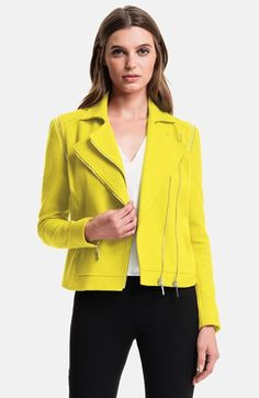 Pique Sateen Moto Jacket pick for Candy Coated Coats! Blazers For Women, Jackets For Women, Classic Wardrobe, Moto Jacket, Nordstrom, Style Inspiration, Clothes, Stylist Pick, Yellow Jackets
