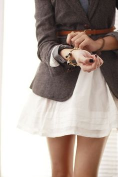 Blue colored shirt, white shirt, Grey blazer, brown leather skinny belt, bracelets