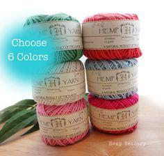 Hemp Cotton Yarn  6 Balls Hemp Knitting Yarn by HempBeadery