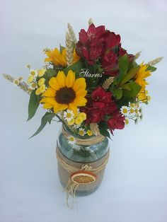 #mason#jar#vase with sunflowers and red alstromeria