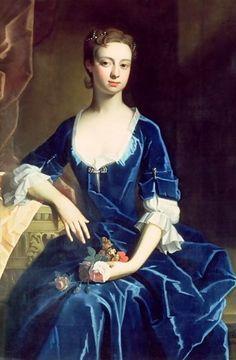 Портрет дамы в голубом бархатном платье. Эрве Шарль (1675 - 1739)