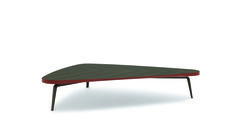 New Gramercy lowtable by M. Lipparini | The graphic and curvy chase of outside section lines changes the thickness of the top with a lightly flutter rhythm: thin on the long sides, more obvious and dense on the corners. Various are the modification of the finishing in a game of combination: wood and varnish or all lacquer tone on tone or in contrast; the legs, a triptych easel, follow the same drawing of Gramercy table.