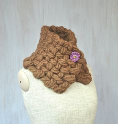 Super chunky merino scarf, soft woolen scarf, brown woool, ceramic flower, neck warmer, soft, thick wool, OOAK - pinned by pin4etsy.com