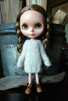 Blythe Doll Knitted Brushed Alpaca and Silk by AuntieShrews