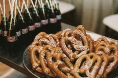 Late-night wedding snacks are always a good idea! Serve soft pretzels and ice cold Diet Coke toward the end of the reception Brett and Jessica Photography Cocktail Wedding Reception, Wedding Snacks, Wedding Food Stations, Wedding Appetizers, Wedding Reception Food, Wedding Ideas, Wedding Planning, Trendy Wedding, Reception Ideas