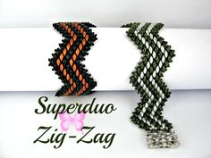 Tutorial Superduo Zigzag Bracelet Pattern  It is made with 2 colours of Superduos and you can choose contrasting colours or 2 shades of the same colour, whatever takes your fancy.  This instant pattern download has 9 pages of Step by Step instructions with Lots of Diagrams and is suitable for all levels.  Tiny seed beads are added to create studs along the edges and you dont see any thread.  This is a distinctive bracelet - everyone will notice when you wear it!  Finished length is 6.5…