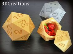 A 3D Printed d20 Die Box With Plenty of Storage Space for Stashing Actual Dice #ad