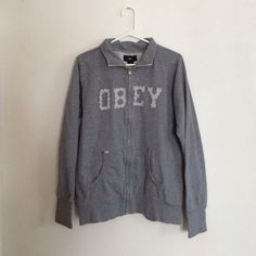 OBEY Hoodie super cute gray hoodie by Obey. 100% cotton and super thick and warm. Only worn a few times, still in great condition. Obey Tops Sweatshirts & Hoodies