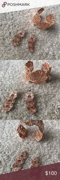 Stella and Dot Geneve Lace Cuff and Earrings Stella and Dot Geneve Lace Cuff and Earrings Rose gold, perfection condition, comes in boxes.  This listing is for both items. Stella & Dot Jewelry Earrings