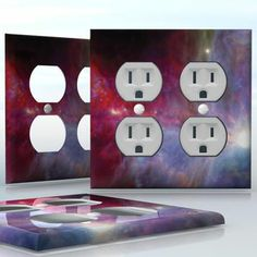 DIY Do It Yourself Home Decor - Easy to apply wall plate wraps | Infinitum  Purple and red nebula , beautiful space image  wallplate skin sticker for 2 Gang Wall Socket Duplex Receptacle | On SALE now only $4.95