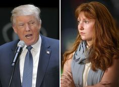 Left, Donald Trump addresses the No Labels Problem Solver Convention in Manchester, N.H., in 2015. Right, Lauren Batchelder listens as Trump answers her question.