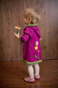 Baby girl's clothing  Knitted cardigan hoodie jacket by KriksisLV, $70.00