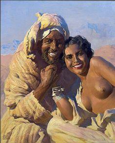 Adam Styka (Polish painter) 1890 - 1959 Flirt. Marokańska Idylla (Flirt. Moroccan Idyll), ca. 1930 oil on cardboard 81.5 x 65.5 cm signed private collection